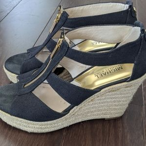 Michael Kors black and gold wedge sandals